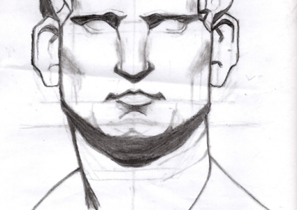 In the Classroom: Drawing of Roman Bust by Art 2 Grammar Students